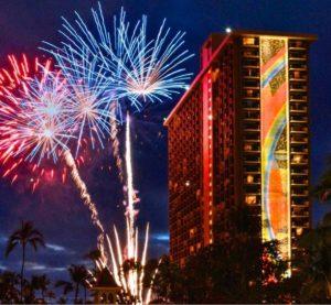 ヒルトン・ハワイアン・ビレッジ・ワイキキ・ビーチ・リゾートの打ち上げ花火